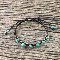 Silver beaded bracelet, 'Charming Karen' - Karen Silver and Turquoise Beaded Bracelet from Thailand