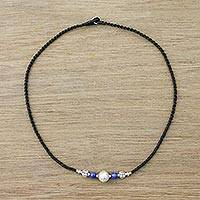 Lapis lazuli beaded pendant necklace, 'Gleaming Karen' - Lapis Lazuli Beaded Pendant Necklace from Thailand