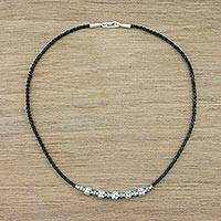 Silver beaded pendant necklace, 'Spiral Karen' - 950 Silver Beaded Pendant Necklace from Thailand