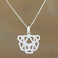 Sterling silver pendant necklace, 'Cheetah' - Abstract Geometric Cheetah Necklace