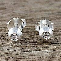 Sterling silver stud earrings, 'Sparkling Eyes' - Sterling Silver and CZ Stud Earrings from Thailand