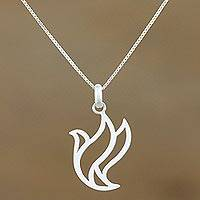 Sterling silver pendant necklace, 'Free Bird'