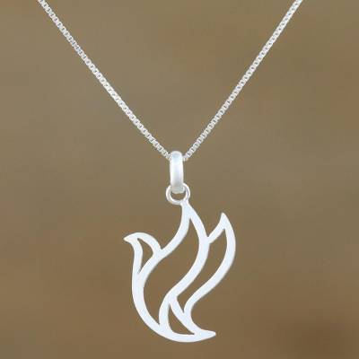 Sterling silver pendant necklace, 'Free Bird' - Sterling Silver Bird Pendant Necklace from Thailand