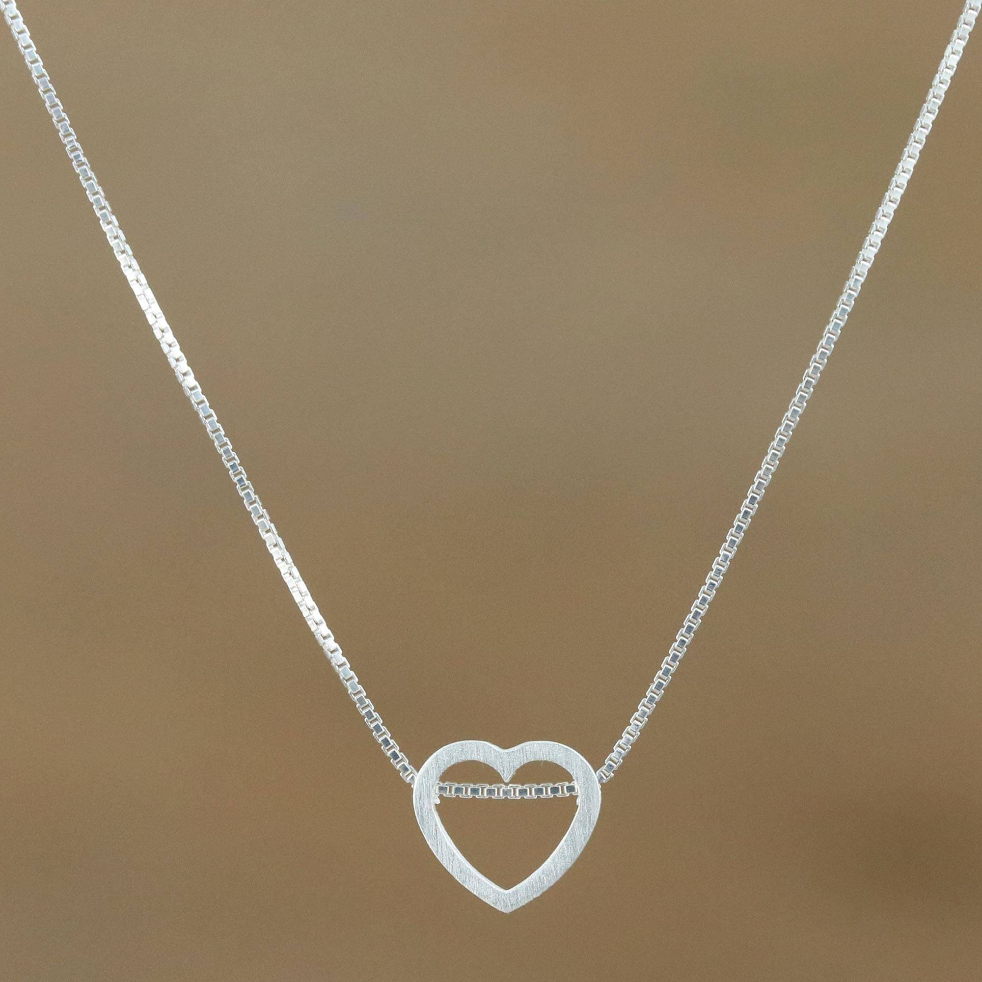 Sterling Silver Heart Pendant Necklace From Thailand Open To