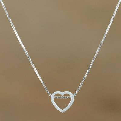Sterling silver pendant necklace, 'Open To Love' - Sterling Silver Heart Pendant Necklace from Thailand