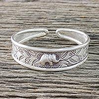 Sterling silver cuff bracelet, 'Elephant in Paradise' - Handcrafted Sterling Silver Elephant Cuff Bracelet