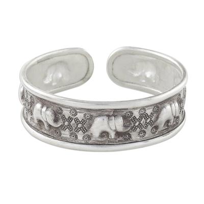 Sterling silver cuff bracelet, 'Elephant Wonder' - Handcrafted Sterling Silver Elephant Cuff Bracelet