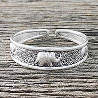 Sterling silver cuff bracelet, 'Elephant Way'