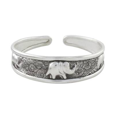 Sterling silver cuff bracelet, 'Elephant Way' - Handcrafted Sterling Silver Elephant Cuff Bracelet