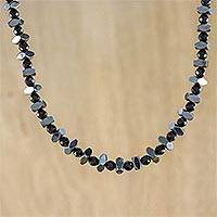 Onyx and hematite beaded necklace, 'Style by Night' - Onyx and Hematite Beaded Necklace from Thailand