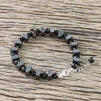 Onyx and hematite beaded bracelet, 'Style by Night' - Onyx and Hematite Beaded Bracelet from Thailand