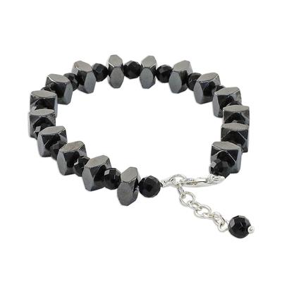 Onyx and Hematite Beaded Bracelet from Thailand