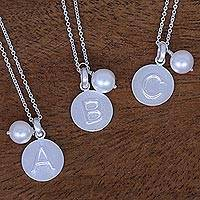 Cultured pearl pendant necklace, 'Fabulous A' - Cultured Pearl Letter A Pendant Necklace from Thailand