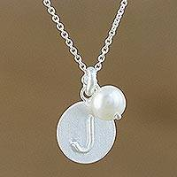 Cultured pearl pendant necklace, 'Fabulous J' - Cultured Pearl Letter J Pendant Necklace from Thailand