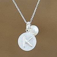 Cultured pearl pendant necklace, 'Fabulous K' - Cultured Pearl Letter K Pendant Necklace from Thailand