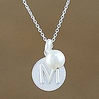 Cultured pearl pendant necklace, 'Fabulous M' - Cultured Pearl Letter M Pendant Necklace from Thailand