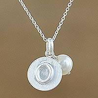 Cultured pearl pendant necklace, 'Fabulous O' - Cultured Pearl Letter O Pendant Necklace from Thailand
