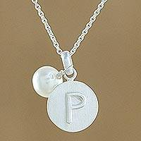 Cultured pearl initial pendant necklace, 'Fabulous P' - Cultured Pearl Letter P Pendant Necklace from Thailand