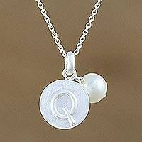 Cultured pearl initial pendant necklace, 'Fabulous Q' - Cultured Pearl Letter Q Pendant Necklace from Thailand