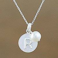 Cultured pearl initial pendant necklace, 'Fabulous R' - Cultured Pearl Letter R Pendant Necklace from Thailand