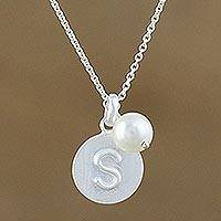 Cultured pearl initial pendant necklace, 'Fabulous S' - Cultured Pearl Letter S Pendant Necklace from Thailand