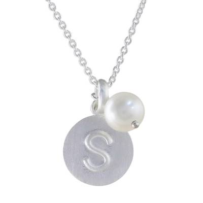 Cultured pearl initial necklace, 'Fabulous S' - Cultured Pearl Letter S Pendant Necklace from Thailand