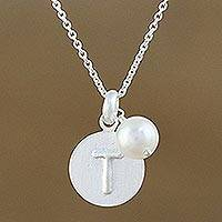 Cultured pearl initial pendant necklace, 'Fabulous T' - Cultured Pearl Letter T Pendant Necklace from Thailand