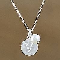 Cultured pearl initial pendant necklace, 'Fabulous V' - Cultured Pearl Letter V Pendant Necklace from Thailand