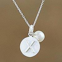 Cultured pearl pendant necklace, 'Fabulous X' - Cultured Pearl Letter X Pendant Necklace from Thailand