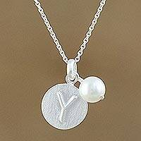 Cultured pearl initial pendant necklace, 'Fabulous Y' - Cultured Pearl Letter Y Pendant Necklace from Thailand