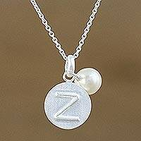 Cultured pearl initial pendant necklace, 'Fabulous Z' - Cultured Pearl Letter Z Pendant Necklace from Thailand