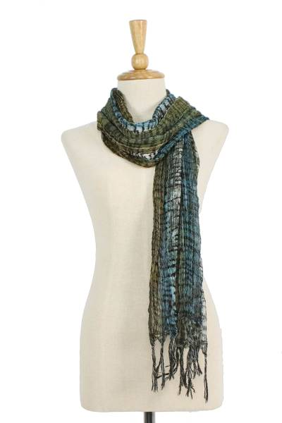 Tie-dyed cotton scarf, 'Cool Jungle' - All Cotton Scarf with Green and Blue Tie Dyed Motifs