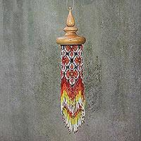 Glass beaded mobile, 'Menora Breeze in Red' - Floral Glass Beaded Mobile in Red from Thailand