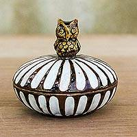 Ceramic decorative box, 'Wise Vessel' - Hand Made Ceramic Decorative Bowl with Lid and Owl Topper