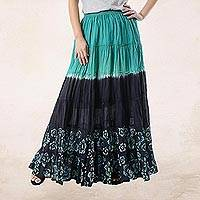 Cotton batik maxi skirt, 'Summer Dance' - Batik Painted Floral 100% Cotton Skirt from Thailand