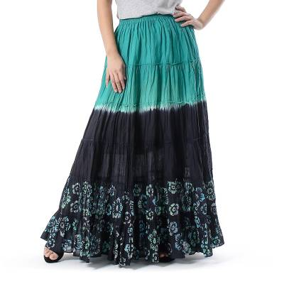 Batik Painted Floral 100% Cotton Skirt from Thailand