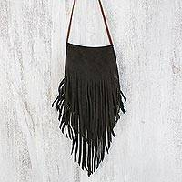 Leather sling shoulder bag, 'Simply Bohemian in Dark Brown' - Handmade Fringed Leather Sling Shoulder Bag Made in Thailand