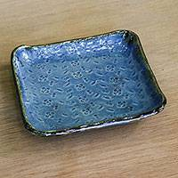 Ceramic plate, 'Special Meal' - Handcrafted Ceramic Plate in Blue from Thailand