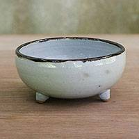 Ceramic bowl, 'Real Leaf' - Leaf-Themed Ceramic Bowl in White from Thailand