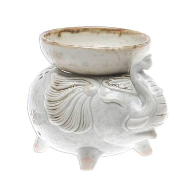 Elephant-Shaped Ceramic Oil Warmer in White from Thailand