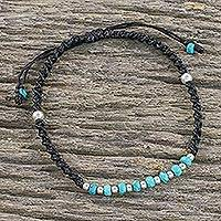 Beaded sterling silver bracelet, 'Split Soul'