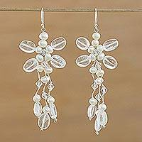 Featured review for Cultured pearl and quartz chandelier earrings, Pretty in Pearl