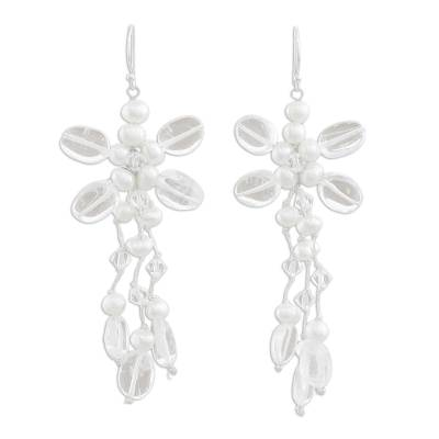 Hand Crafted Cultured Pearl and Quartz Chandelier Earrings