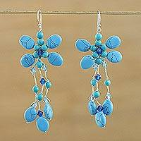 Beaded chandelier earrings, 'Botanic Blue' - Hand Crafted Dyed Calcite Chandelier Earrings from Thailand