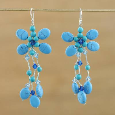 Novica Calcite dangle earrings, Dance With Me in Blue