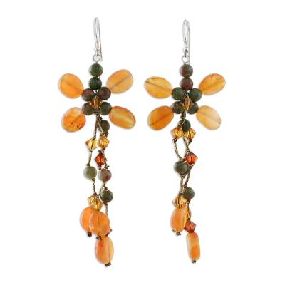 Hand Crafted Carnelian and Unakite Chandelier Earrings
