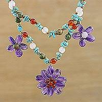 Multi-gemstone pendant necklace, 'Garden Stories' - Amethyst Flower and Multi Gemstone Beaded Necklace