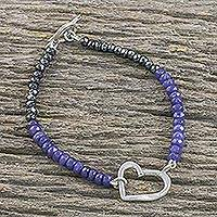 Quartz and hematite beaded pendant bracelet, 'Special Heart in Purple' - Handmade Dyed Quartz Hematite 950 Silver Bracelet
