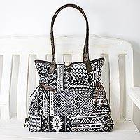 Leather accent cotton shoulder bag, 'Delightful Moonlight' - Black and White Cotton Shoulder Bag with Leather Accent