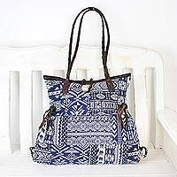 Leather accented cotton blend shoulder bag, 'Delightful' - Blue and White Patchwork Handbag